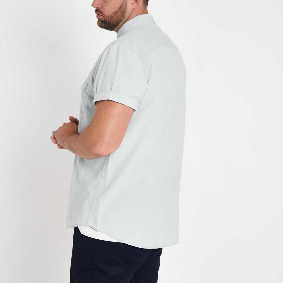 shirt Big Tall denim and blue qxwIU8BHZ