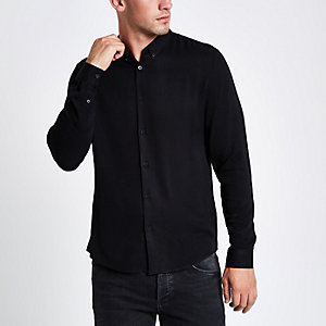 Zwart slim-fit overhemd met lange mouwen
