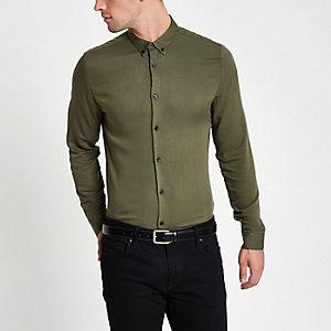 Kaki slim-fit overhemd met lange mouwen