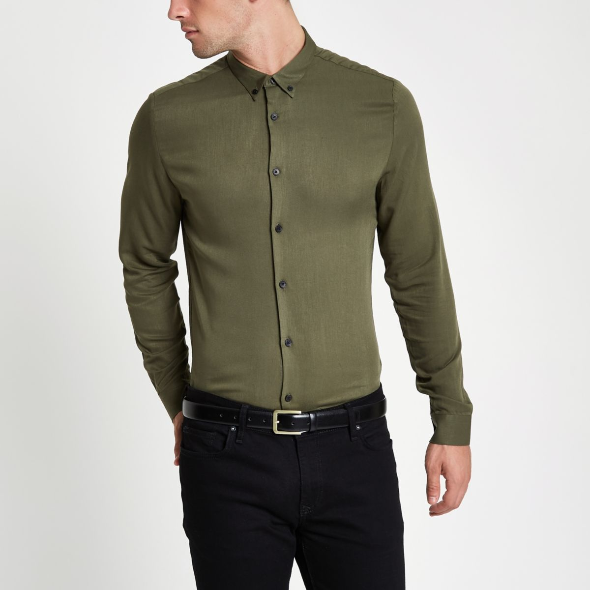 fit long Khaki sleeve shirt slim APxtq