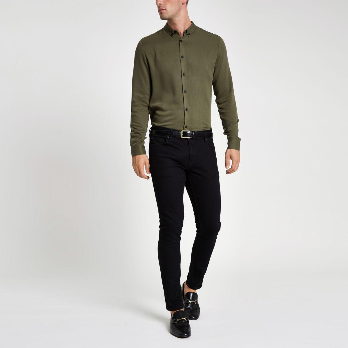 long sleeve fit slim Khaki shirt gwafaq