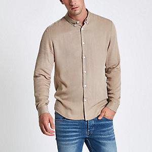 Steingraues, langärmliges Slim Fit Hemd