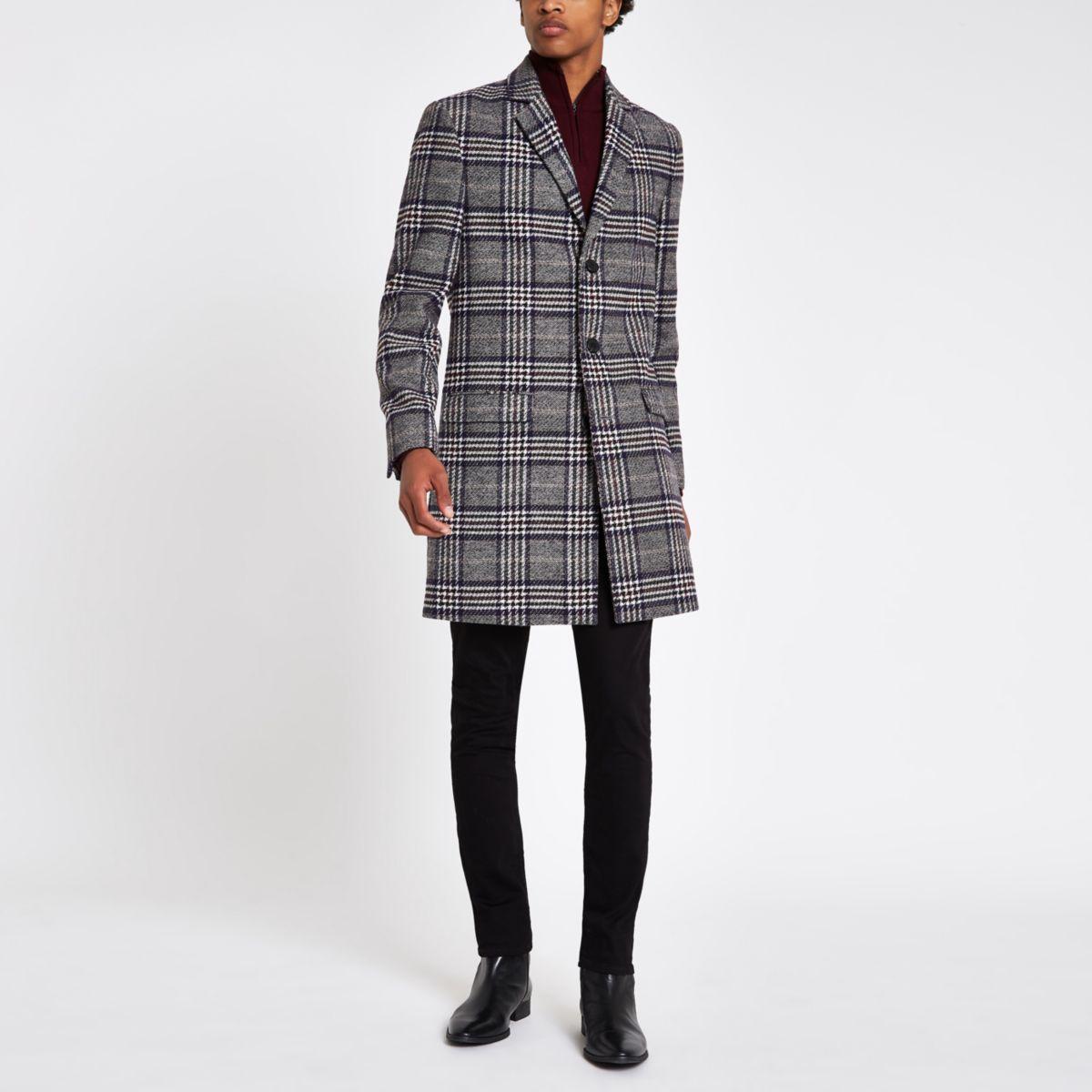 Grey check wool blend overcoat