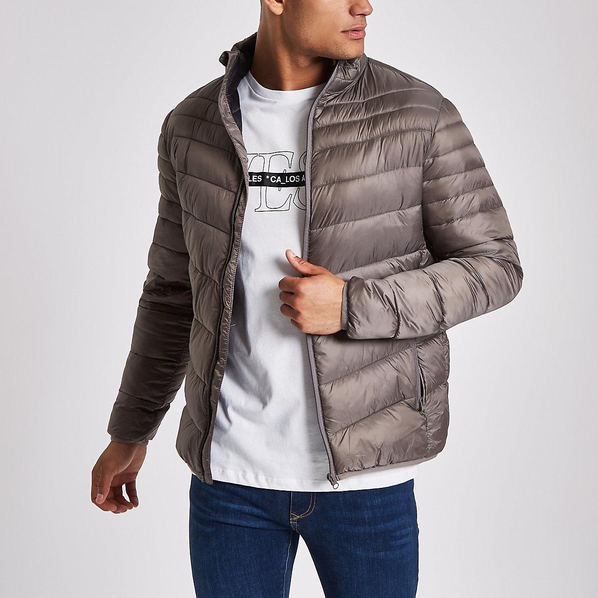 Grey zip front funnel neck puffer jacket
