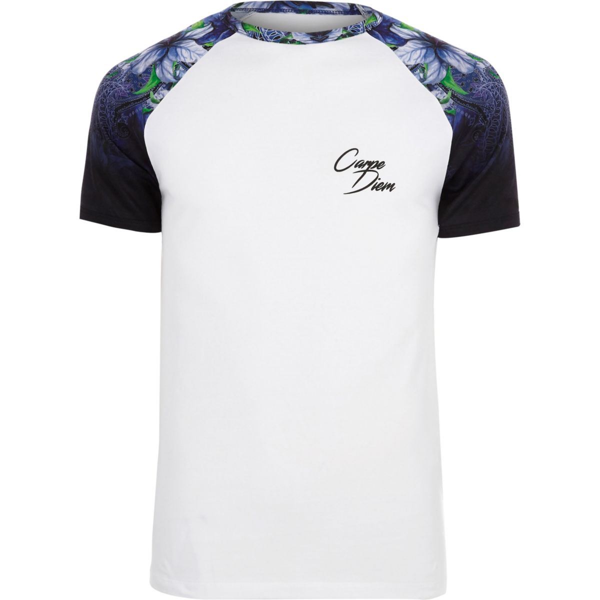 T floral muscle fit raglan shirt White Pgnpn