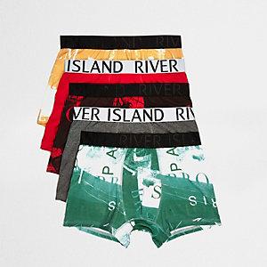 Multipack met rode strakke boxers met fotografische print