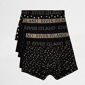 Multipack zwarte strakke boxers met gouden sterren