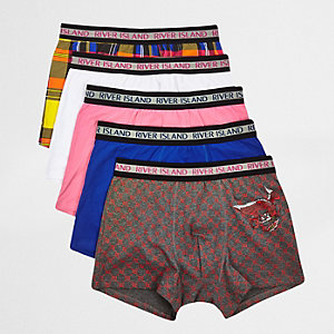 Red dragon check print trunks multipack