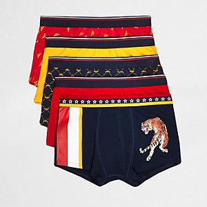 Rote Hipster-Slips mit Tiger-Print, Set