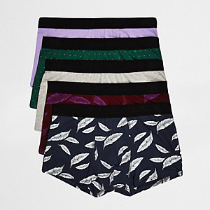 Purple feather print hipsters multipack