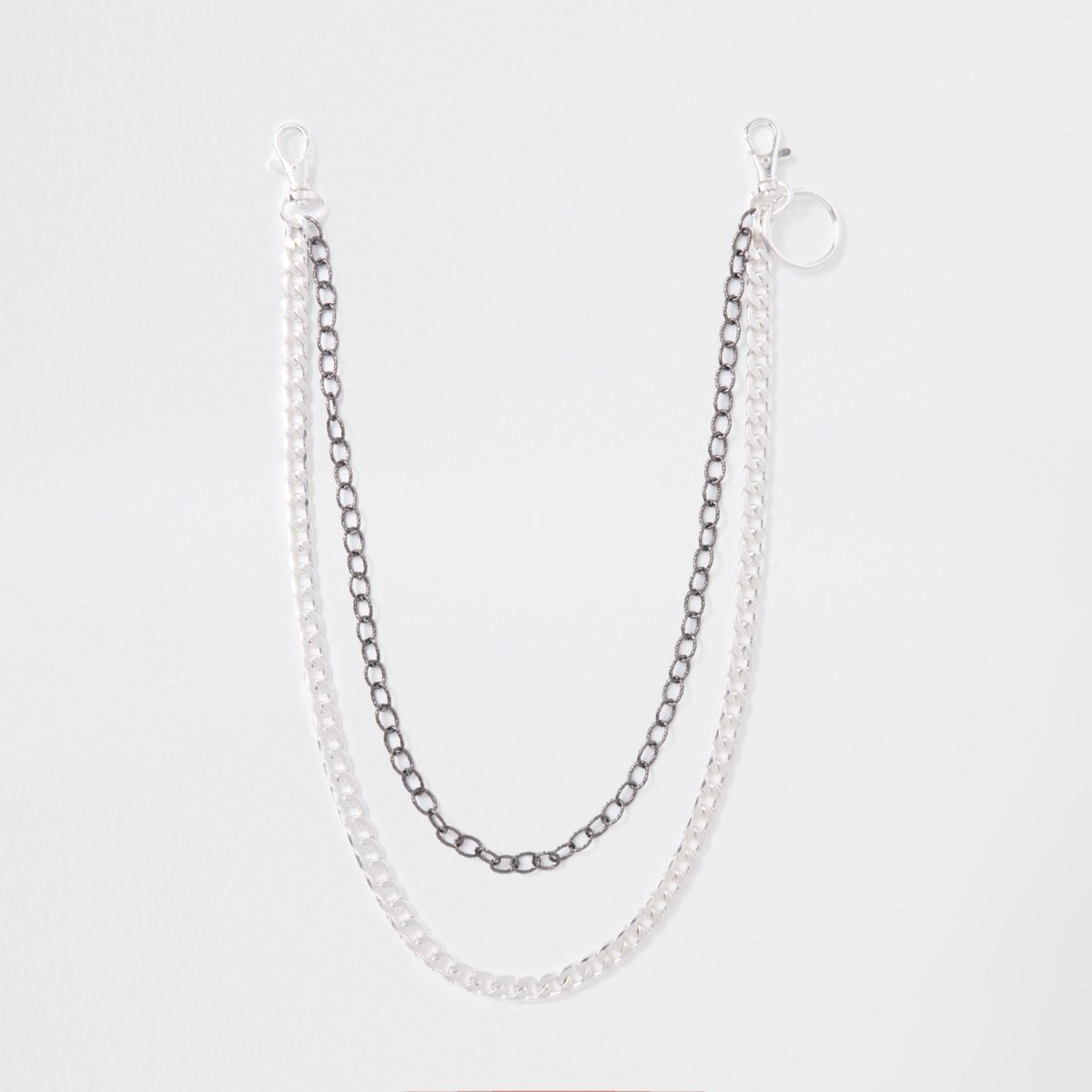 Silver tone double jeans chain