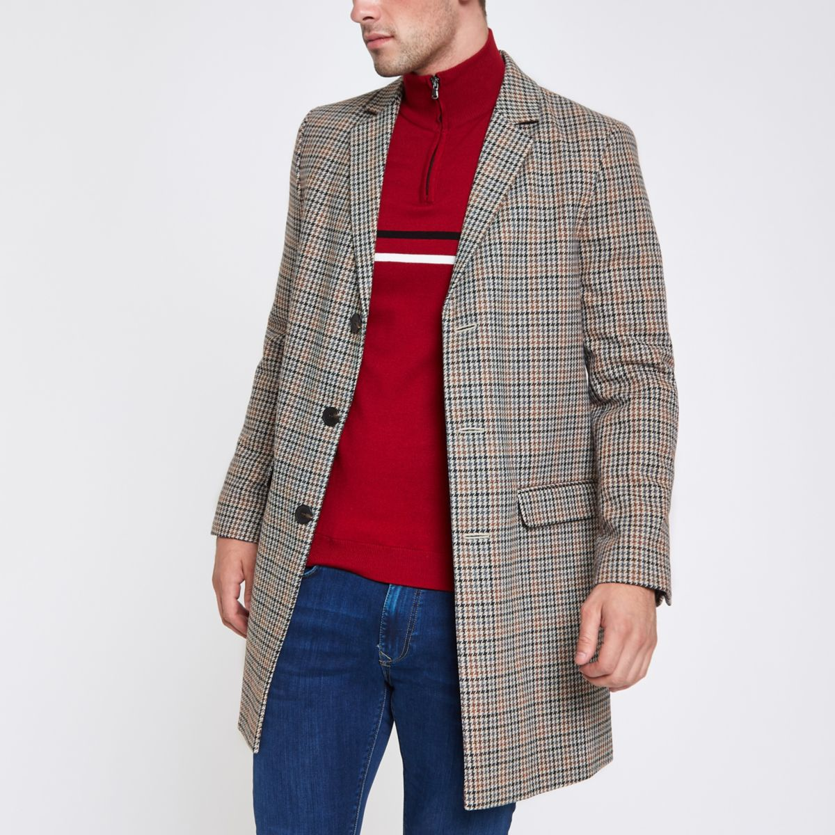 Brown check smart overcoat