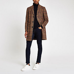 Brown check wool overcoat