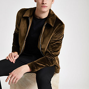 Rust velvet harrington jacket
