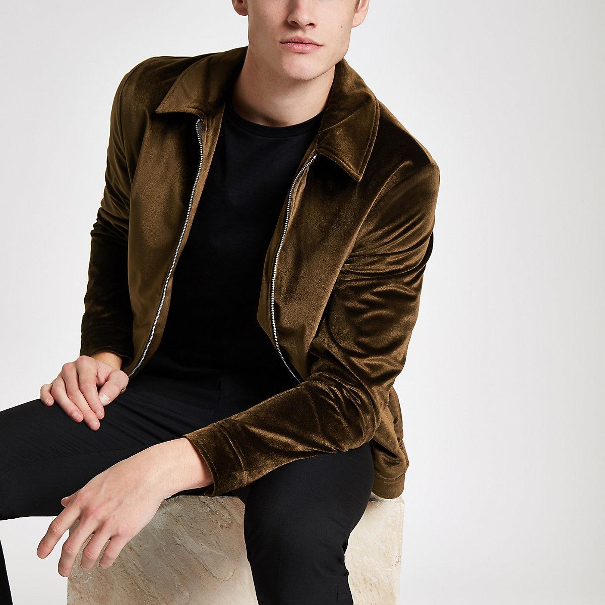 Rust velvet harrington jacket