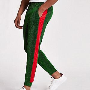 Jaded – Pantalon de jogging vert métallisé