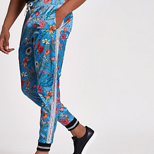 Jaded blue floral satin joggers