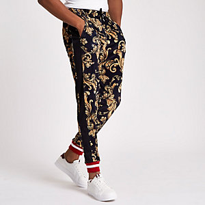 Jaded yellow velvet print joggers