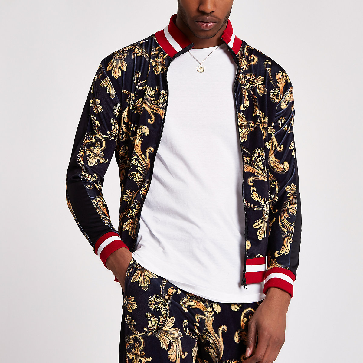 Jaded London yellow velvet track jacket