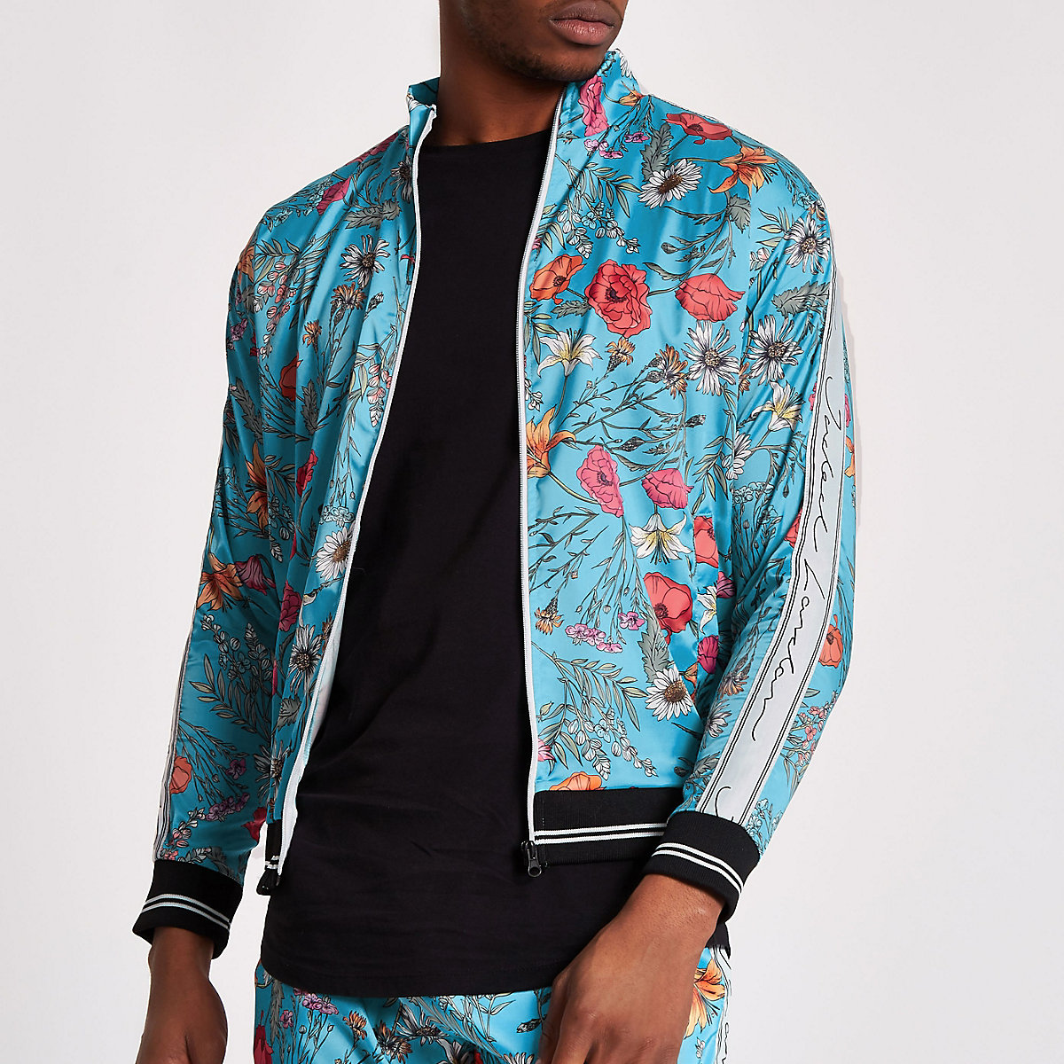 Jaded blue floral satin track top