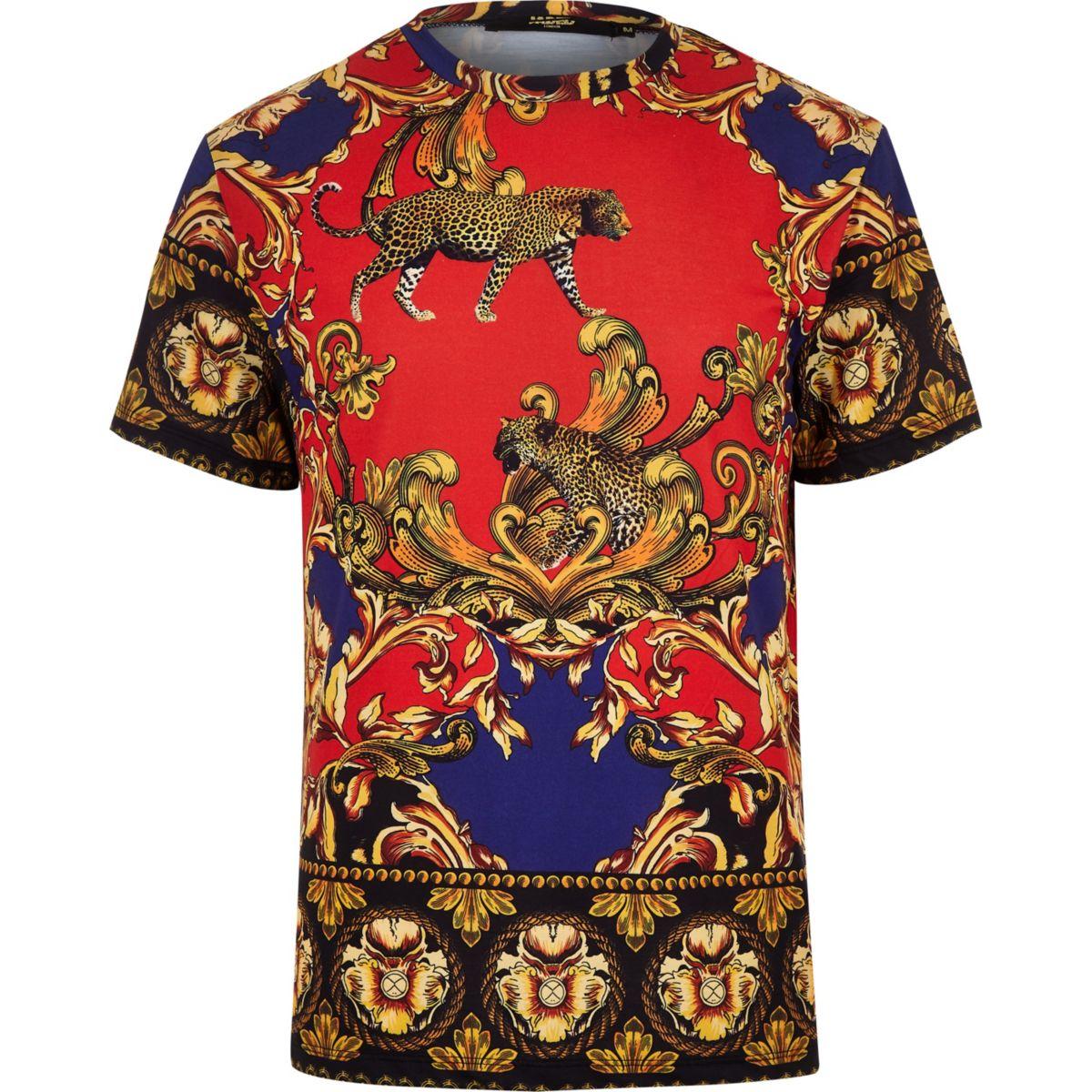 Jaded black baroque print T-shirt