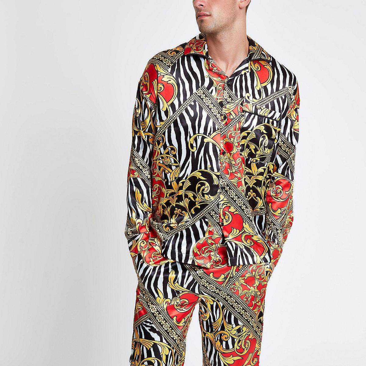 Jaded London yellow zebra print pajama shirt