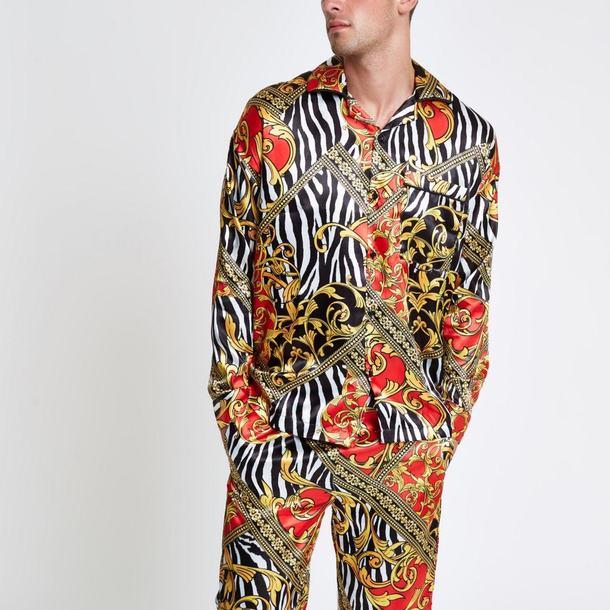 Jaded yellow zebra print pyjama shirt