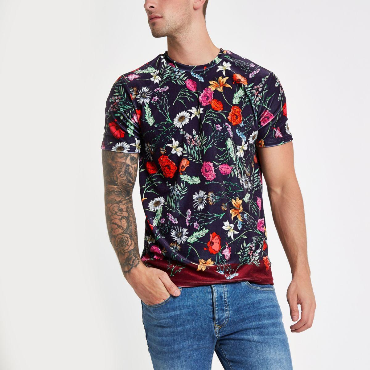 Navy Jaded velvet floral T-shirt