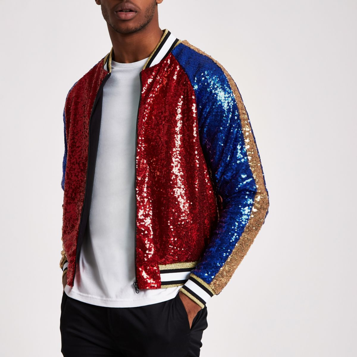 Jaded red sequin bomber jacket