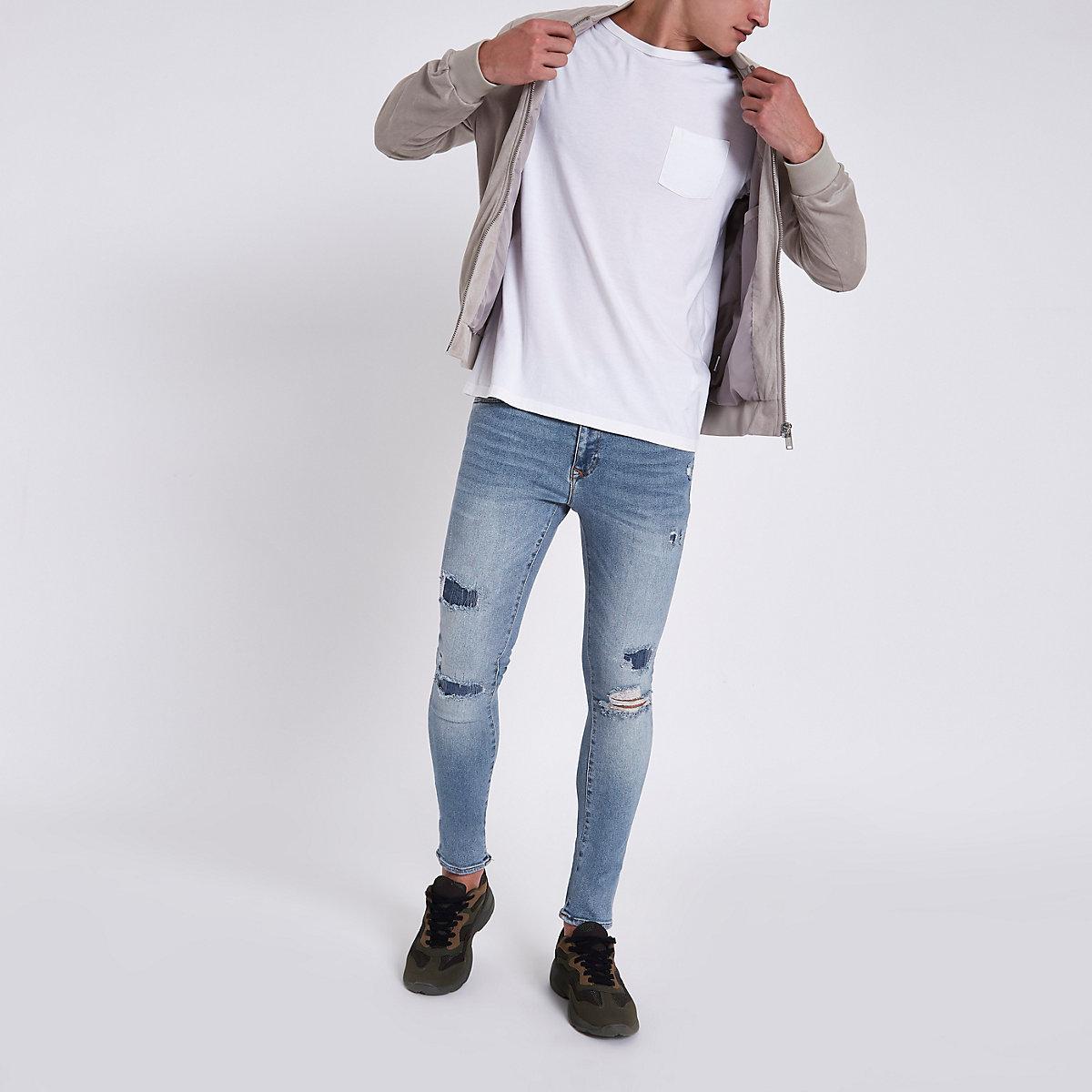 Light blue Danny ripped super skinny jeans