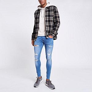 Hellblaue Super Skinny Jeans im Used Look