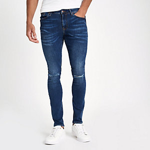 Dark blue denim ripped super skinny jeans