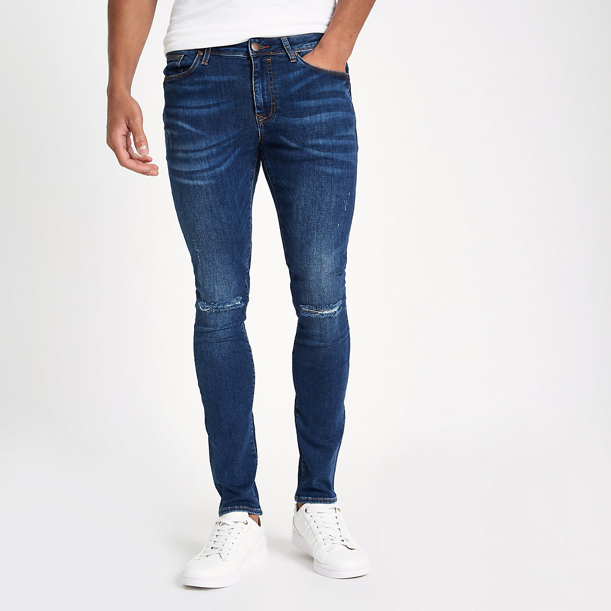 Dark blue ripped super skinny jeans
