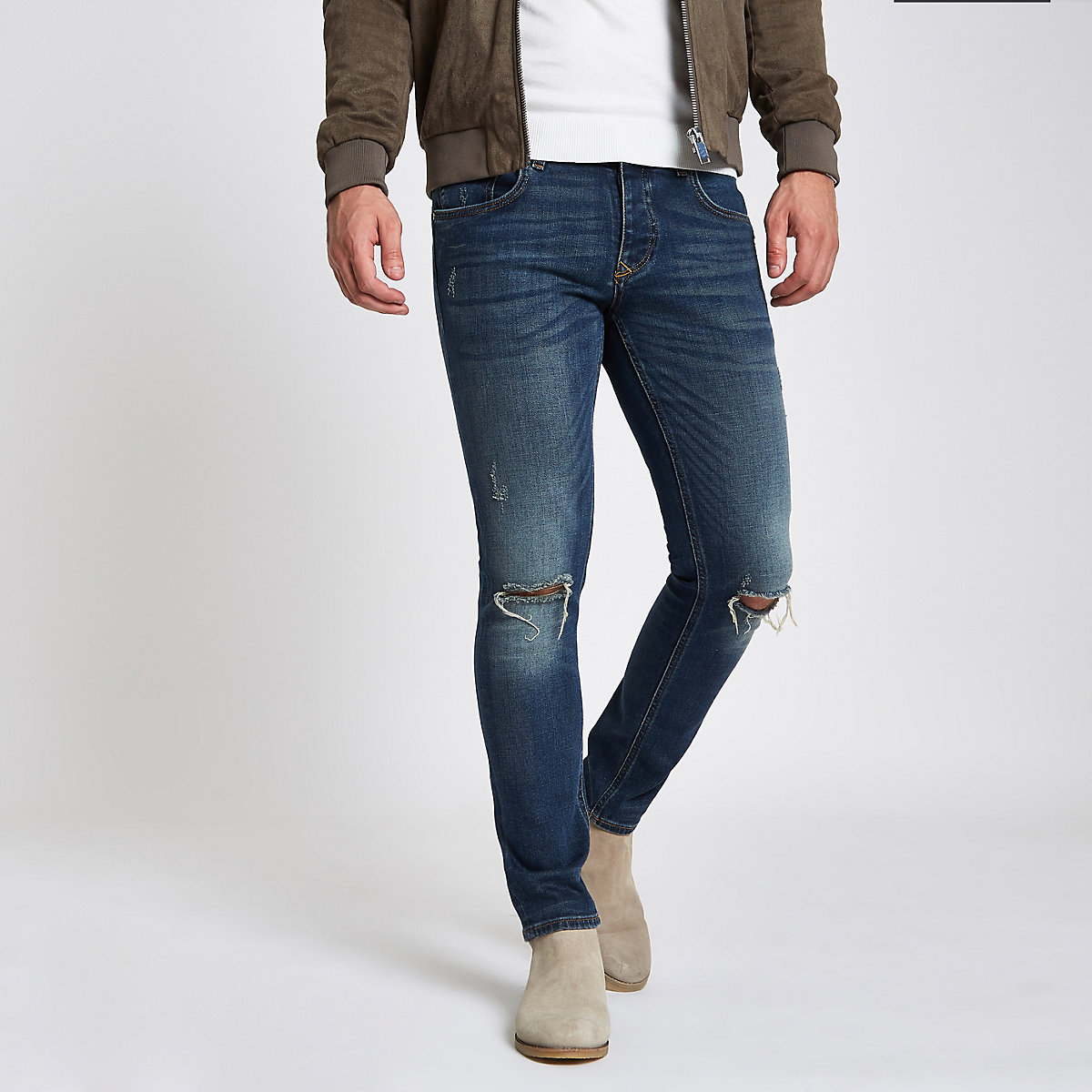 Dark blue skinny pocket embroidered rip jeans
