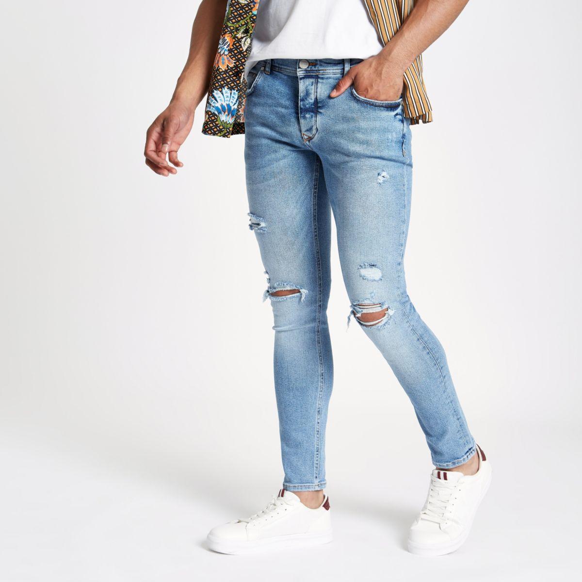 Blue skinny ripped jean