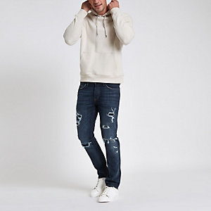 Dunkelblaue Slim Fit Jeans im Used-Look