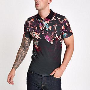 Schwarzes Muscle Fit T-Shirt mit orientalischem Print