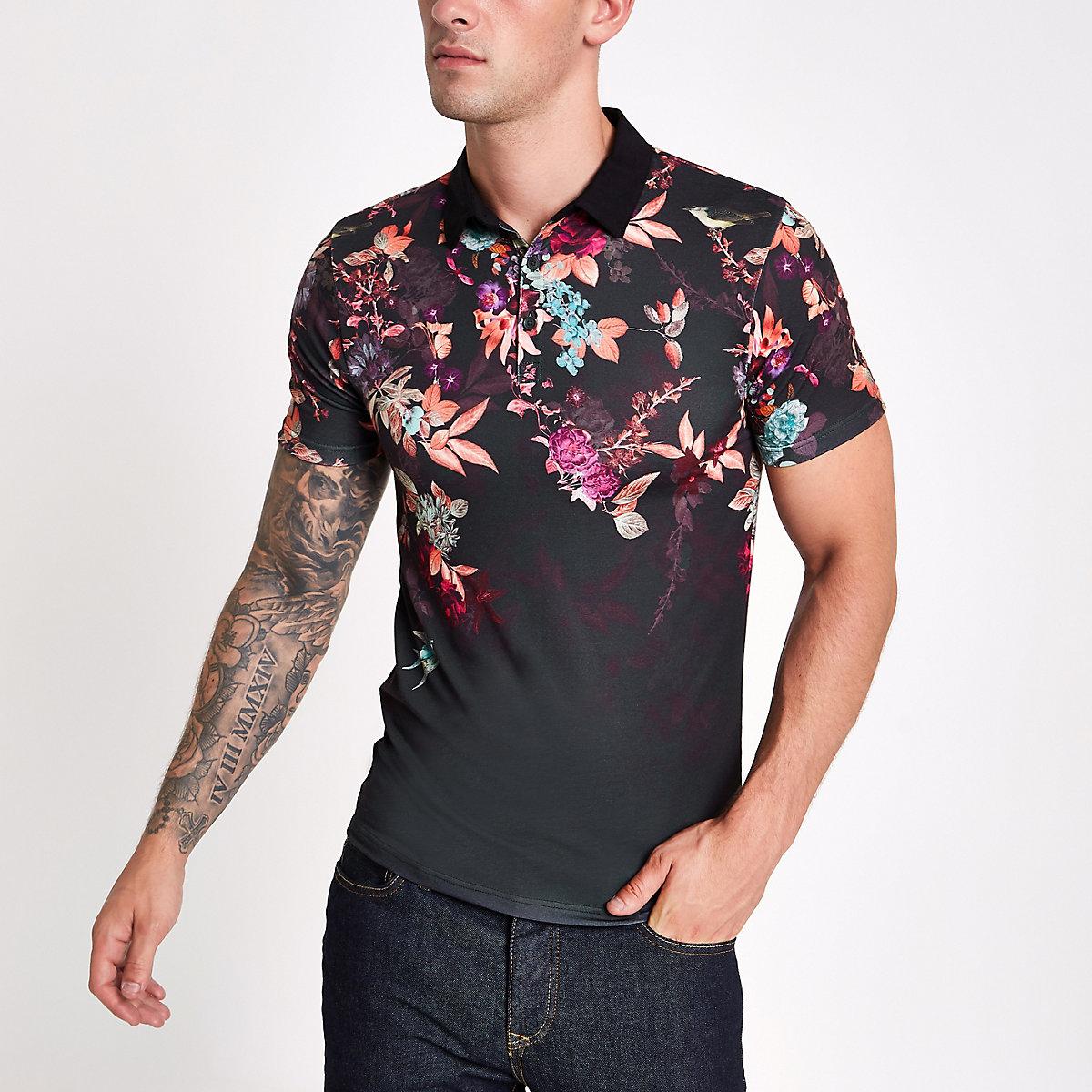 Black muscle fit oriental print polo shirt