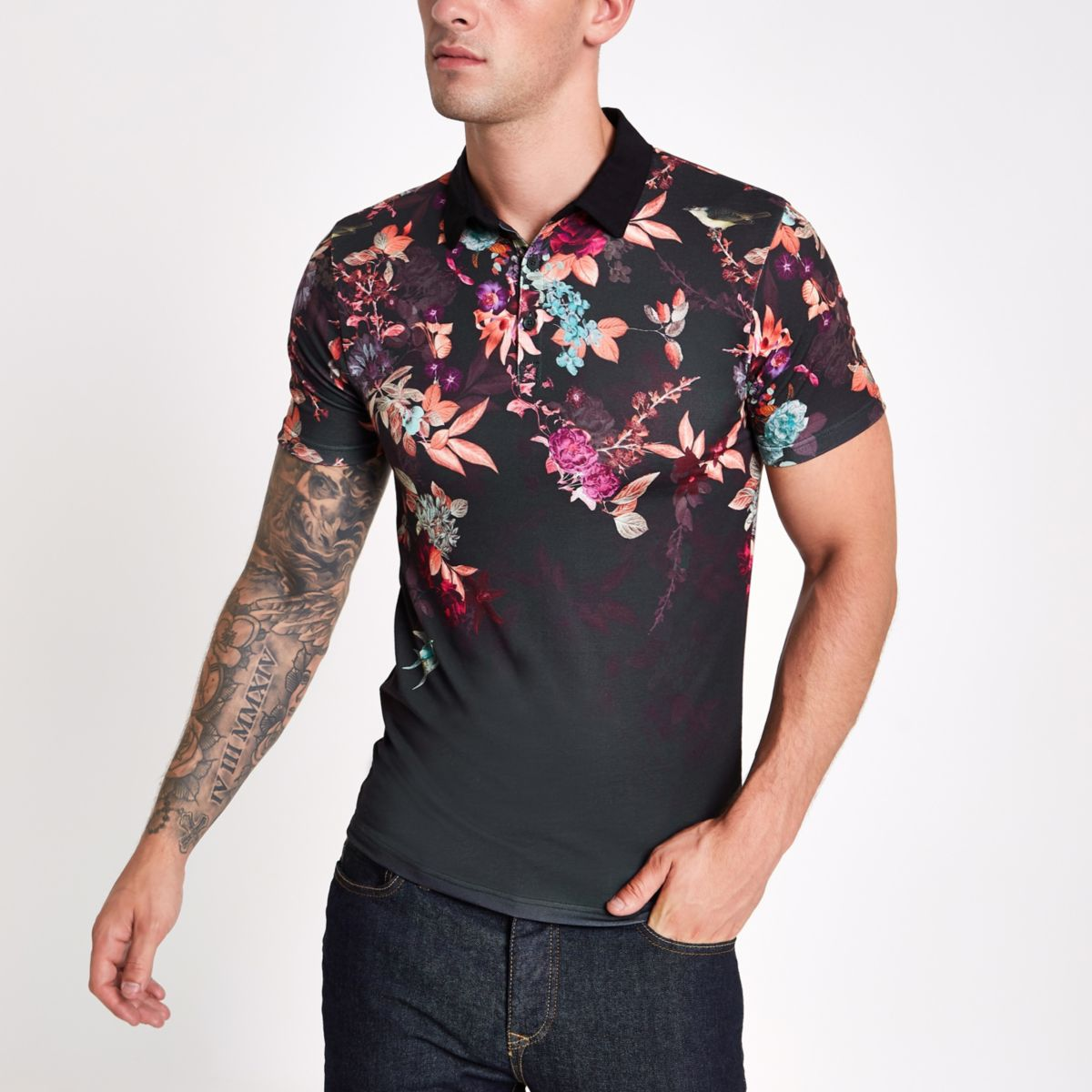 Black muscle fit oriental print polo shirt