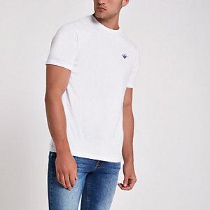 Weißes, besticktes Slim Fit T-Shirt