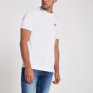 White swallow embroidered slim fit T-shirt