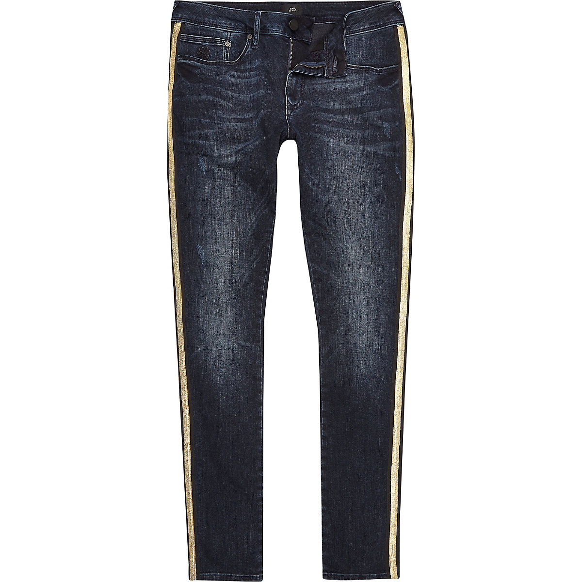 Dark blue gold tape side super skinny jeans