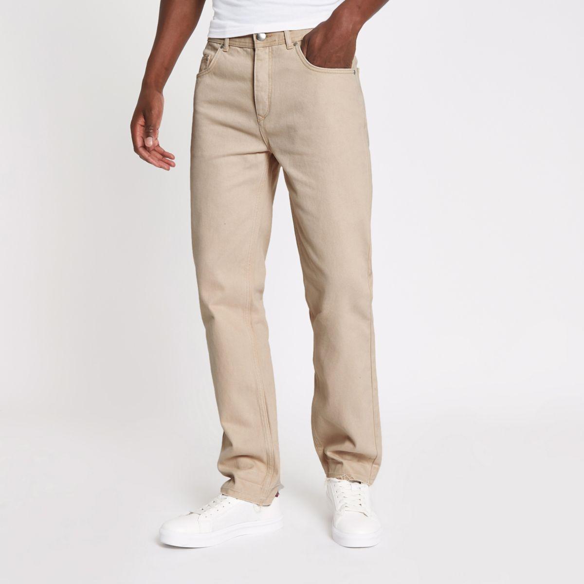 Ecru standard raw hem jeans