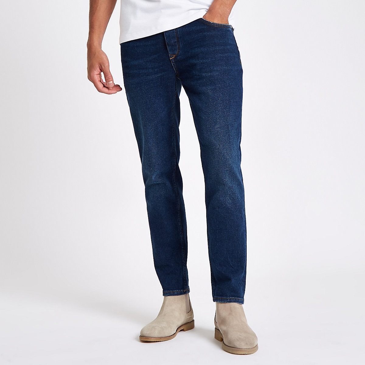 Dark blue slim tapered jeans
