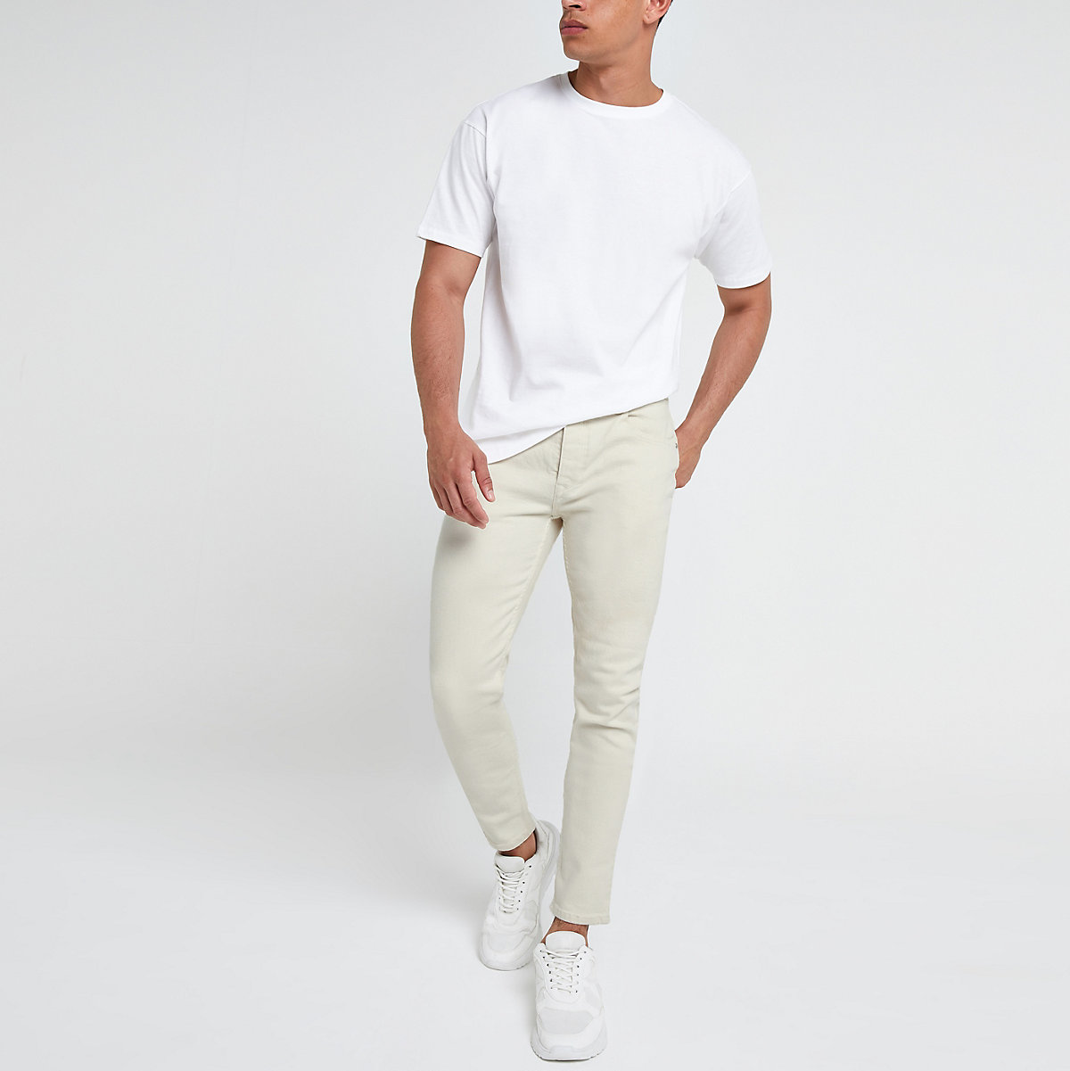 Ecru tapered chino trousers
