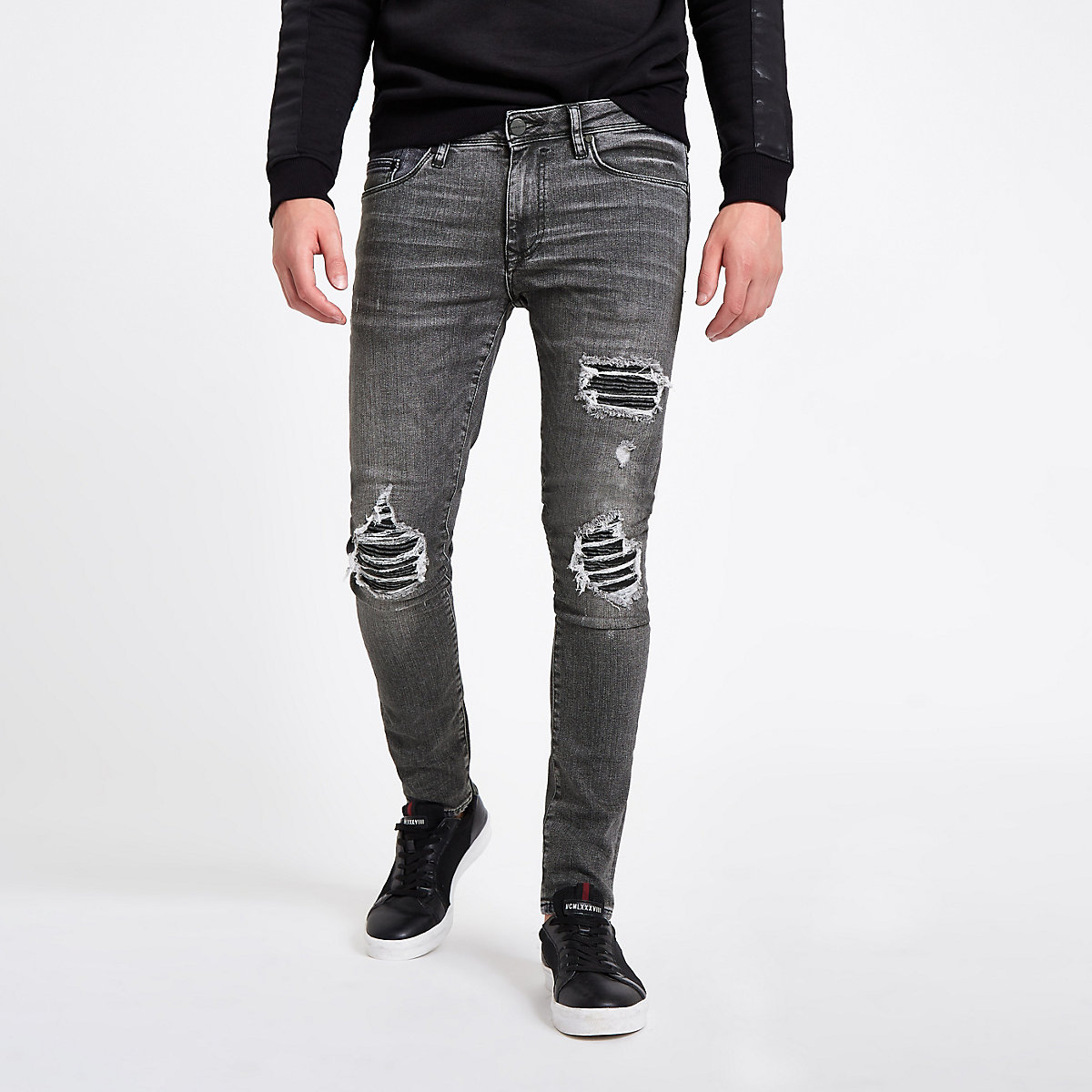 Washed black super skinny ripped jeans