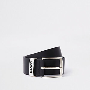 Levi's black branded leather buckle belt