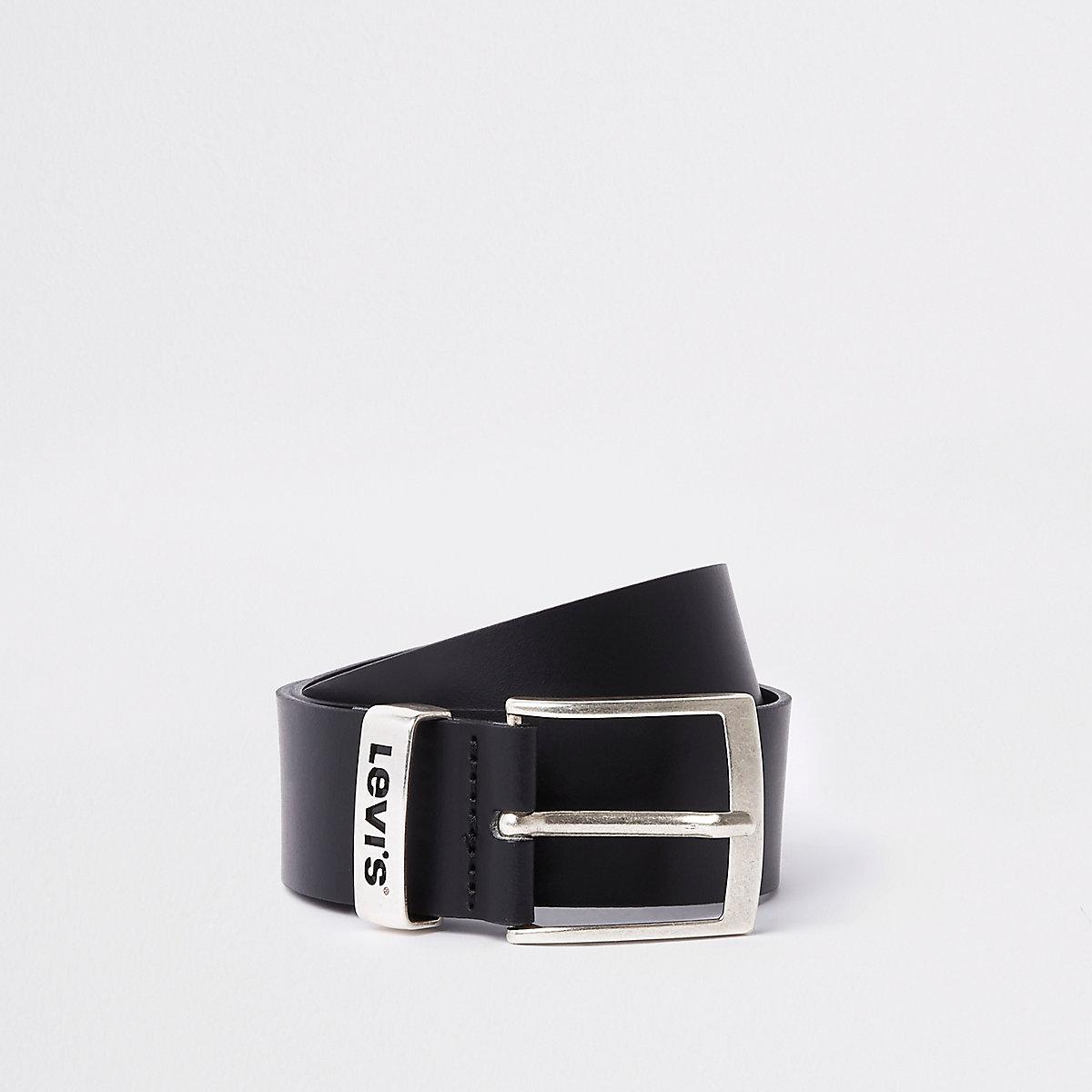 Levi's black branded leather buckle belt