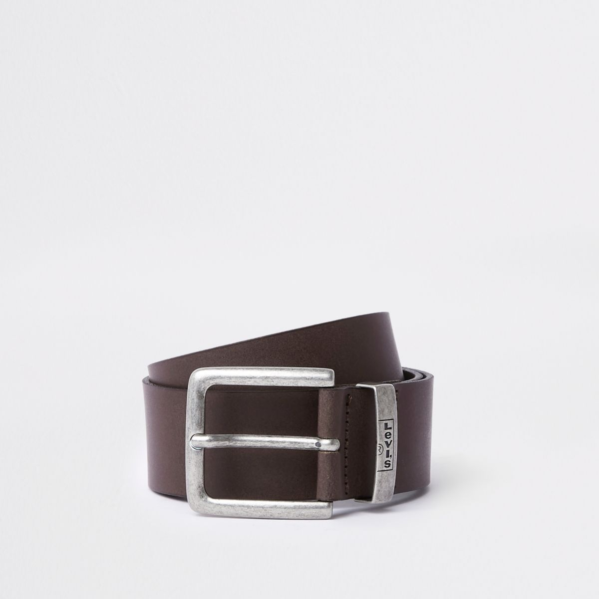 Levi's brown branded leather buckle belt
