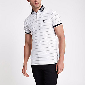 White stripe muscle fit polo shirt